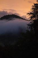 Dusk in Huai Kha Khaeng Wildlife Sanctuary, Thailand. Mist fills the river valley and the top of a hill is revealed in the twilight.