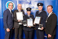 Dublin - Ireland, Tuesday 8th November 2016:<br /> Simon Coveney TD, Minister for Housing, Planning &amp; Local Government with 'Seiko Just In Time Award' recipients John McDonnell, Sergeant Marie Crowley, Sergeant John Casey (Clare) and Martin O'Sullivan, Chairman of Irish Water Safety at the annual Irish Water Safety Awards held at Dublin Castle.  Photograph: David Branigan/Oceansport