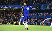 Diego Costa shows his thanks during the Champions League group stage match between Chelsea and Dynamo Kiev at Stamford Bridge, London, England on 4 November 2015. Photo by Michael Hulf.