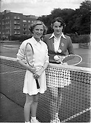 30/08/1952<br /> 08/30/1952<br /> 30 August 1952<br /> Tennis - Irish National Junior Championships at Fitzwilliam Tennis Club, Appian Way, Dublin. Miss Aileen Dowley, (left)Mount Anville Convent Dublin, Irish Junior Girls Tennis Champion with runner up Miss Aubrey Roney, Victoria College Belfast.