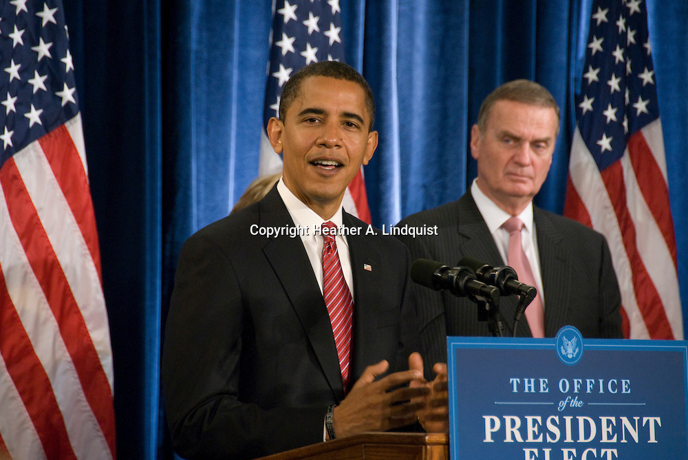 December 1st 2008 - Chicago, IL - Press Conference with newly elected President Barack Obama at the Hilton Hotel in downtown Chicago...Obama announced his security team with Vice President-elect Joe Biden.  Hillary Rodham Clinton was introduced as secretary of state, retired Marine Gen. James Jones as White House national security adviser, Eric Holder as attorney general and Arizona Governor, Janet Napolitano as secretary of homeland security, and United Nations Ambassador Susan Rice. Robert Gates will remain as the defense secretary...Photo Credit: Heather A. Lindquist/Sipa..