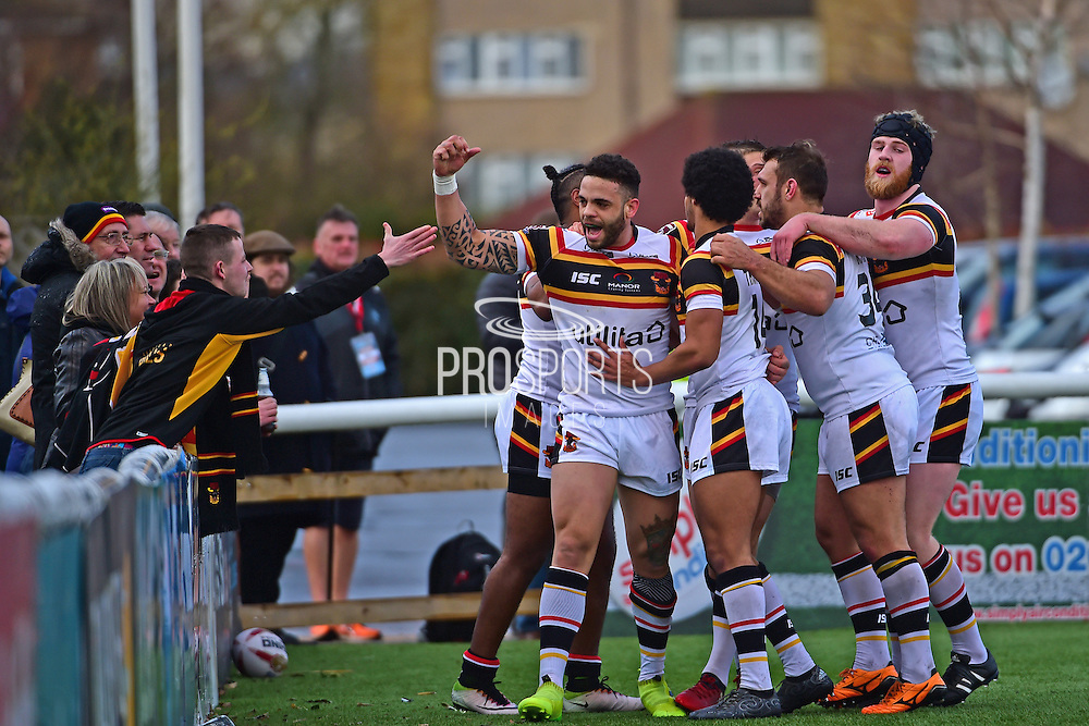 Bradford Bulls second row Kevin Larroyer (16) celebrates his try during the Kingstone Press Championship match between London Broncos and Bradford Bulls at Trailfinders Sports Club, Vallis Way, United Kingdom on 5 March 2017. Photo by Jon Bromley.