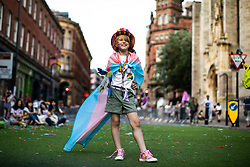 © Licensed to London News Pictures . 05/08/2018. Leeds, UK. TEGAN DYASON (nine) (who identifies as a trans girl and is one of the country's youngest transexual people) . Leeds Gay Pride parade through the Yorkshire city's centre . Leeds's annual Gay Pride festiva celebrates the city's LGBTQ+ life and culture . Photo credit: Joel Goodman/LNP