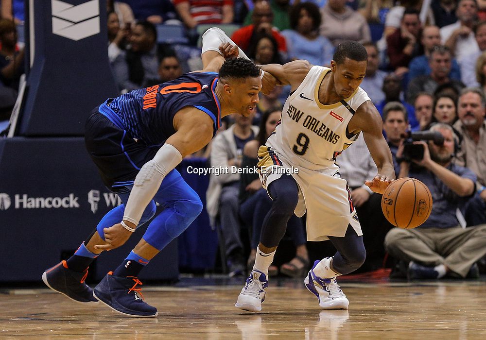 Apr 1, 2018; New Orleans, LA, USA; New Orleans Pelicans guard Rajon Rondo (9) steals the ball from Oklahoma City Thunder guard Russell Westbrook (0) during the second half at the Smoothie King Center. The Thunder defeated the Pelicans 109-104. Mandatory Credit: Derick E. Hingle-USA TODAY Sports