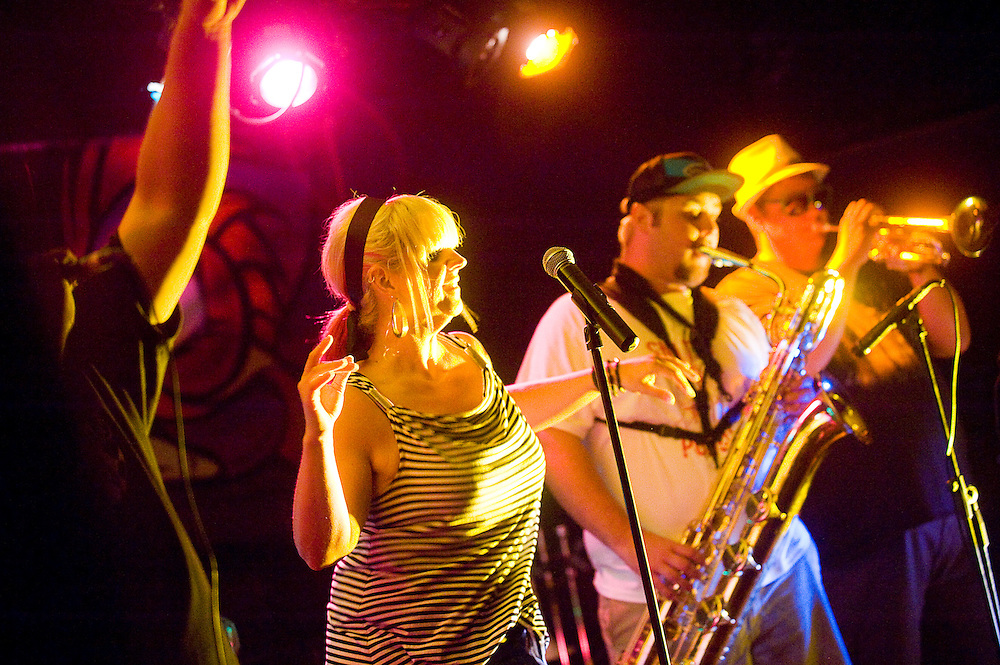 072612       Brian Leddy.Vicki Tovar of the ska band Rude King dances during Thursday's performance at The Juggernaut. The Dallas-based band travelled through Gallup while on tour.