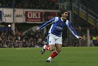 Photo: Lee Earle.<br /> Portsmouth v Manchester City. The Barclays Premiership. 10/02/2007.Pedro Mendes turns away to celebrate after scoring the opening goal.