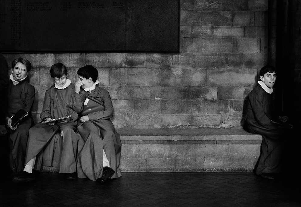 Choirboys in Southwark Cathedral, London.