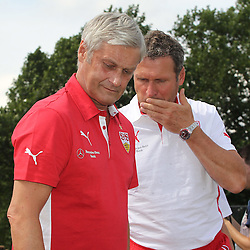13.07.2014, Normannia Stadion, Stuttgart, GER, FS Vorbereitung, VfB Stuttgart vs Team Gmuend, im Bild Trainer Armin Veh ( VfB Stuttgart ) rechts Co-Trainer Reiner Geyer ( VfB Stuttgart ) // during a Friendly Match between VfB Stuttgart and Team Gmuend at the Normannia Stadion in Stuttgart, Germany on 2014/07/13. EXPA Pictures © 2014, PhotoCredit: EXPA/ Eibner-Pressefoto/ Langer<br /> <br /> *****ATTENTION - OUT of GER*****