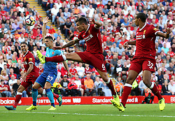 Dejan Lovren of Liverpool fires a shot at goal  - Mandatory by-line: Matt McNulty/JMP - 27/08/2017 - FOOTBALL - Anfield - Liverpool, England - Liverpool v Arsenal - Premier League