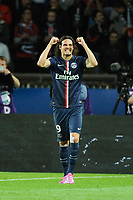 Uruguayan forward Edinson Cavani of Paris Saint Germain celebrates scoring his goal during the French Championship Ligue 1 football match between Paris Saint Germain and Olympique Lyonnais on September 21, 2014 at Parc Des Princes stadium in Paris, France. Photo Jean Marie Hervio / Regamedia / DPPI