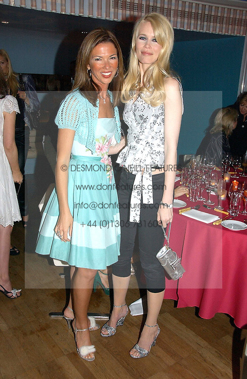 Left to right, HEATHER KERZNER and Model CLAUDIA SCHIFFER at a party hosted by Elizabeth Saltzman and Harvey Nichols to celebrate the UK launch of New York fashion designer Tory Burch held at the Fifth Floor Restaurant, Harvey Nichols, Knightsbridge, London on 24th May 2006.<br /><br />NON EXCLUSIVE - WORLD RIGHTS