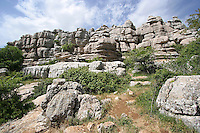 Interesting limestone rock formations at El Torcal Nature Park, Andalucia, Spain.