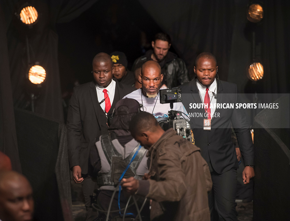 JOHANNESBURG, SOUTH AFRICA - MAY 13: Trezegeut Kanyinda enters the arena during EFC 59 Fight Night at Carnival City on May 13, 2017 in Johannesburg, South Africa. (Photo by Anton Geyser/EFC Worldwide/Gallo Images)