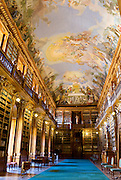 Prague, Czech Republic. One of the library's (Philosophical Hall)in The Strahov Monastery, built in 1782 it houses a collection 800 years old.