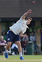 George Watkins of Bristol Rugby bowls during an exhibition cricket game against Bishopston CC - Photo mandatory by-line: Dougie Allward/JMP - Mobile: 07966 386802 - 29/07/2015 - SPORT - Cricket - Bristol - Westbury Fields - Bishopston CC v Bristol Rugby - Exhibition Game