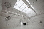 "Giardini, Palazzo delle Esposizioni. International exhibition ""Fare Mondi // Making Worlds // Bantin Duniyan // ???? // Weltenmachen // Construire des Mondes // Fazer Mundos..."" curated by Daniel Birnbaum..Tomas Saraceno, ""Galaxies Forming along Filaments, like Droplets along the Strands of a Spider's Web"", 2009"
