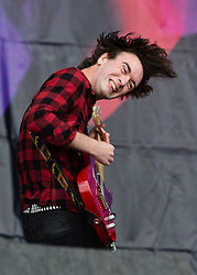 © Licensed to London News Pictures. 23/08/2014. Reading, UK.   Pulled Apart By Horses performing live at Reading Festival 2014 on Saturday Day 2.  In this picture - James Brown .   Photo credit : Richard Isaac/LNP