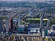 Nederland, Zuid-Holland, Den Haag, 14-09-2019; zicht op centrum Den Haag, Bezuidenhout en Rivierenbuurt, hoogbouw langs A12 / Utrechtse baan en rond Den Haag Centraal. Scheveningen en Noordzee in de achtergrond.<br /> The Hague, city centre, highrise around central station.<br /> luchtfoto (toeslag op standard tarieven);<br /> aerial photo (additional fee required);<br /> copyright foto/photo Siebe Swart