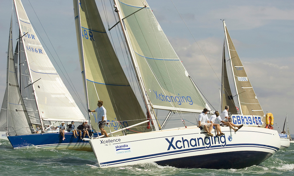 """""""Xcellence of Hamble"""" and """"Hot Doris"""" of IRC Class 4, prepare for the start, Day 1 of Skandia Cowes Week 2006."""
