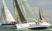 """Xcellence of Hamble"" and ""Hot Doris"" of IRC Class 4, prepare for the start, Day 1 of Skandia Cowes Week 2006."