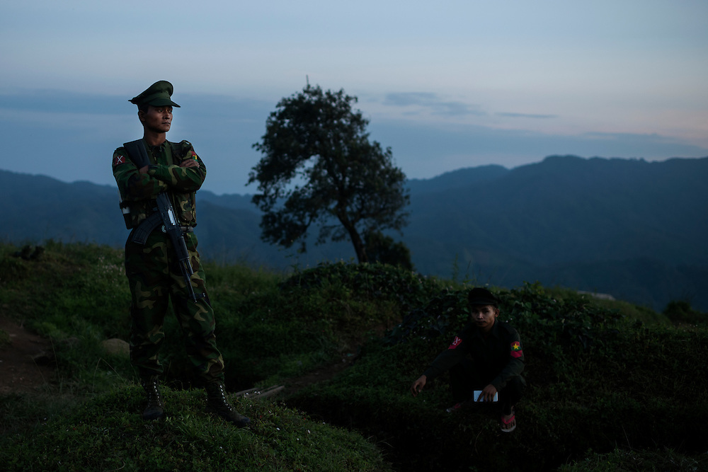 Mai Ja Yang 20160911<br /> K.I.A. rebells at Lagat Bum, a frontline outpost near Mai Ja Yang in Kachin State, Myanmar.<br /> Photo: Vilhelm Stokstad / Kontinent