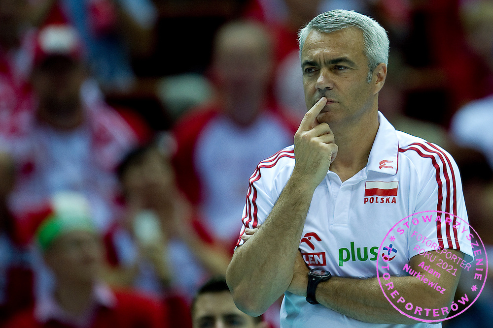 Andrea Anastasi trainer coach team of Poland during the 2013 CEV VELUX Volleyball European Championship match between Poland and France at Ergo Arena in Gdansk on September 21, 2013.<br /> <br /> Poland, Gdansk, September 21, 2013<br /> <br /> Picture also available in RAW (NEF) or TIFF format on special request.<br /> <br /> For editorial use only. Any commercial or promotional use requires permission.<br /> <br /> Mandatory credit:<br /> Photo by &copy; Adam Nurkiewicz / Mediasport