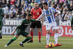 February 10, 2019 - Madrid, Madrid, Spain - CD Leganes's Mikel Vesga and Real Betis Balompie's Sergio Leon during La Liga match between CD Leganes and Real Betis Balompie at Butarque Stadium in Madrid, Spain. February 10, 2019. (Credit Image: © A. Ware/NurPhoto via ZUMA Press)