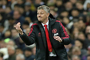 Manchester United interim Manager Ole Gunnar Solskjaer gestures during the Premier League match between Tottenham Hotspur and Manchester United at Wembley Stadium, London, England on 13 January 2019.