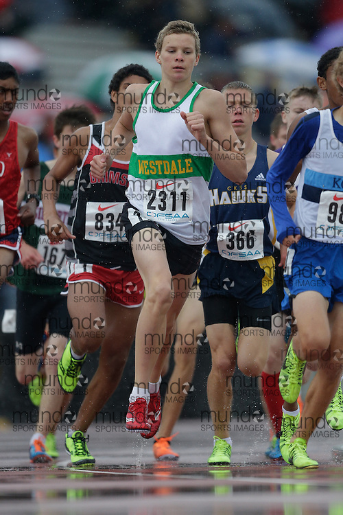 Ian MacKinnon of Westdale SS - Hamilton competes at the 2013 OFSAA Track and Field Championship in Oshawa Ontario, Thursday,  June 6, 2013.<br /> Mundo Sport Images/ Geoff Robins