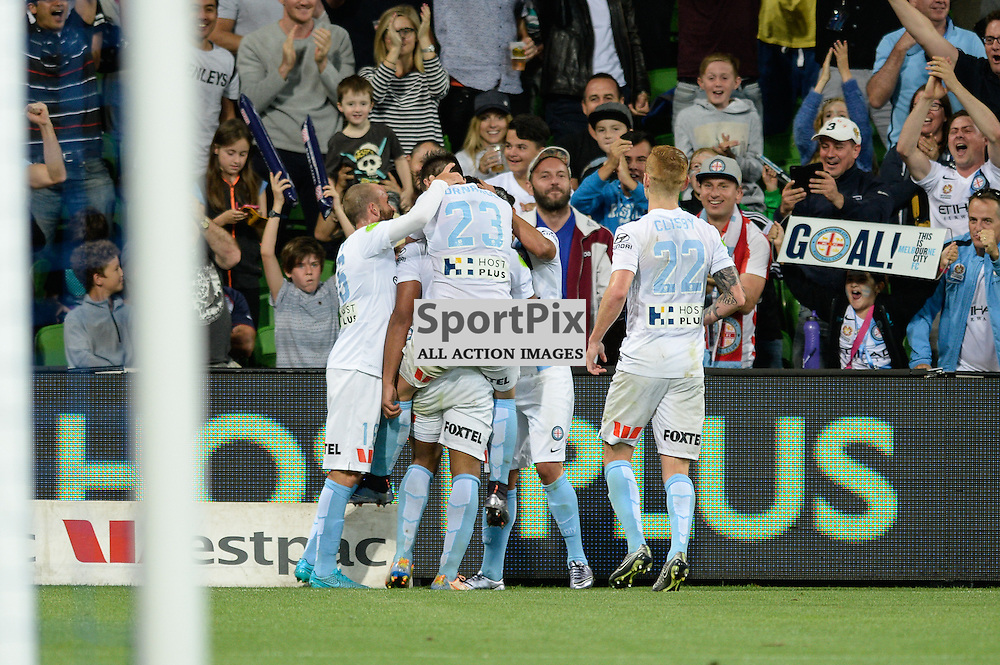 City celebrates a second half goal from Harry Novillo - Hyundai A-League, January 9th 2016, RD14 match between Melbourne City FC v Western Sydney Wanderers FC at Aami Park in a 3:2 win to City. Melbourne, Australia. © Mark Avellino | SportPix.org.uk