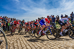 Peloton with Ramon SINKELDAM from the Netherlands of FDJ at the 4 star cobblestone sector 26 from Fontaine-au-Tertre to Quievy during the 2018 Paris-Roubaix race, France, 8 April 2018, Photo by Thomas van Bracht / PelotonPhotos.com | All photos usage must carry mandatory copyright credit (Peloton Photos | Thomas van Bracht)