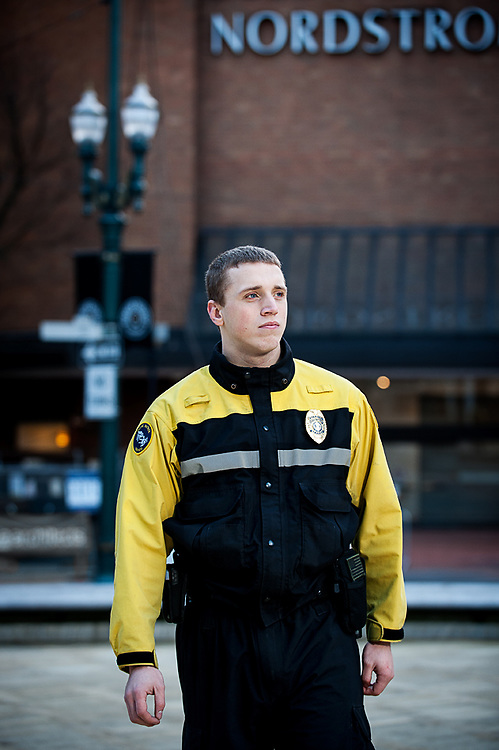 Pacific Patrol Services offier on duty early morning in downtown Portland