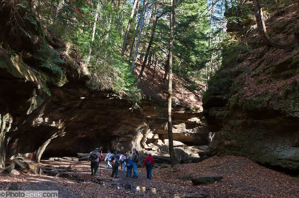 Hikers explore Rocky Hollow Canyon in Turkey Run State Park, in historic Parke County, Indiana, USA. Rocky Hollow Falls Canyon Nature Preserve is a National Park Service Registered Natural Landmark. The Mansfield sandstone bedrock was formed during the Carboniferous Period when sand layers at the mouth of ancient Michigan River was compacted and cemented into solid rock. Ancient swamps became coal seams which were mined in the late 1800s and early 1900s. Glacial meltwater erosion in the Pleistocene Epoch (less than 20,000 years ago) carved today's canyons and potholes.
