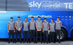 Team Sky's (left to right) Gianni Moscon, Wout Poels, Egan Bernal, Chris Froome, Luke Rowe, Michal Kwiatkowski, Jonathan Castroviejo, Geraint Thomas during the Team Sky Media Event in Saint-Mars-la-Reorthe, France.
