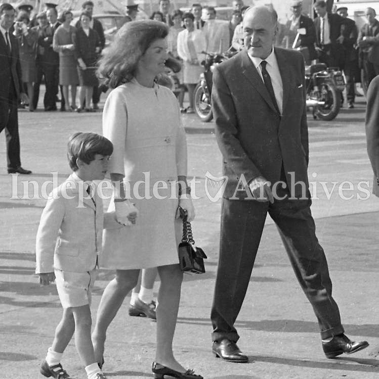 Jacqueline Kennedy's visit to Ireland, June 1967.<br /> (Jacqueline &quot;Jackie&quot; Lee Bouvier Kennedy Onassis)<br /> At Shannon Airport.<br /> Jacqueline Kennedy with her son John.<br /> (Part of the Independent Ireland Newspapers/NLI Collection)