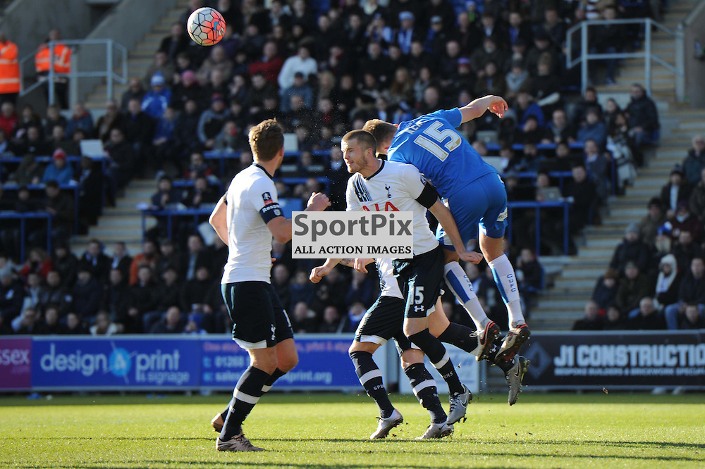 Colchesters Frankie Kent and Tottenhams Eric Dier in action during the Colchester v Tottenham game in the FA Cup 4th Round on the 30th January 2016.