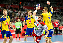 Bjarte Myrhol of Norway vs Max Darj of Sweden during handball match between National teams of Sweden and Norway on Day 7 in Main Round of Men's EHF EURO 2018, on January 24, 2018 in Arena Zagreb, Zagreb, Croatia.  Photo by Vid Ponikvar / Sportida