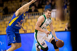 Dino Muric of KK Sencur GGD and Dino Cinac of KK Krka during basketball match between KK Krka and KK Sencur GGD in 1st Semifinal of Slovenian Spar Cup 2017/18, on February 16, 2018 in Sports hall Tivoli, Ljubljana, Slovenia. Photo by Urban Urbanc / Sportida