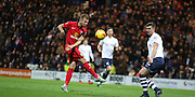 Jordan Rhodes strikes during the Sky Bet Championship match between Preston North End and Blackburn Rovers at Deepdale, Preston, England on 21 November 2015. Photo by Pete Burns.