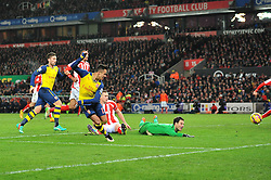 Arsenal's Alexis Sanchez hits the post - Photo mandatory by-line: Dougie Allward/JMP - Mobile: 07966 386802 - 06/12/2014 - SPORT - Football - Stoke - Britannia Stadium - Stoke City v Arsenal - Barclays Premie League
