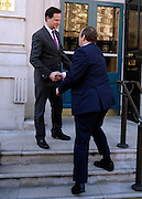 © Licensed to London News Pictures. 03/02/2012, London, UK. Deputy Prime Minister Nick Clegg welcomes Ed Davey the new minister for Energy and Climate Change to the Cabinet Office in Whitehall. Photo credit : Stephen Simpson/LNP