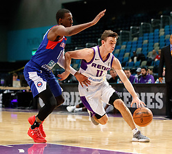 November 19, 2017 - Reno, Nevada, U.S - Reno Bighorns Guard DAVID STOCKTON (11) drives against Long Island Nets Guard SHANNON SCOTT (11) during the NBA G-League Basketball game between the Reno Bighorns and the Long Island Nets at the Reno Events Center in Reno, Nevada. (Credit Image: © Jeff Mulvihill via ZUMA Wire)