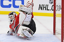 Feb 2; Newark, NJ, USA; New Jersey Devils goalie Martin Brodeur (30) makes a save during the third period at the Prudential Center. The Devils defeated the Canadiens 5-3.