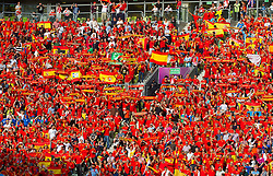 Fans of Spain listening to the national anthem during the UEFA EURO 2012 group C match between Spain and Italy at The Arena Gdansk on June 10, 2012 in Gdansk, Poland.  (Photo by Vid Ponikvar / Sportida.com)