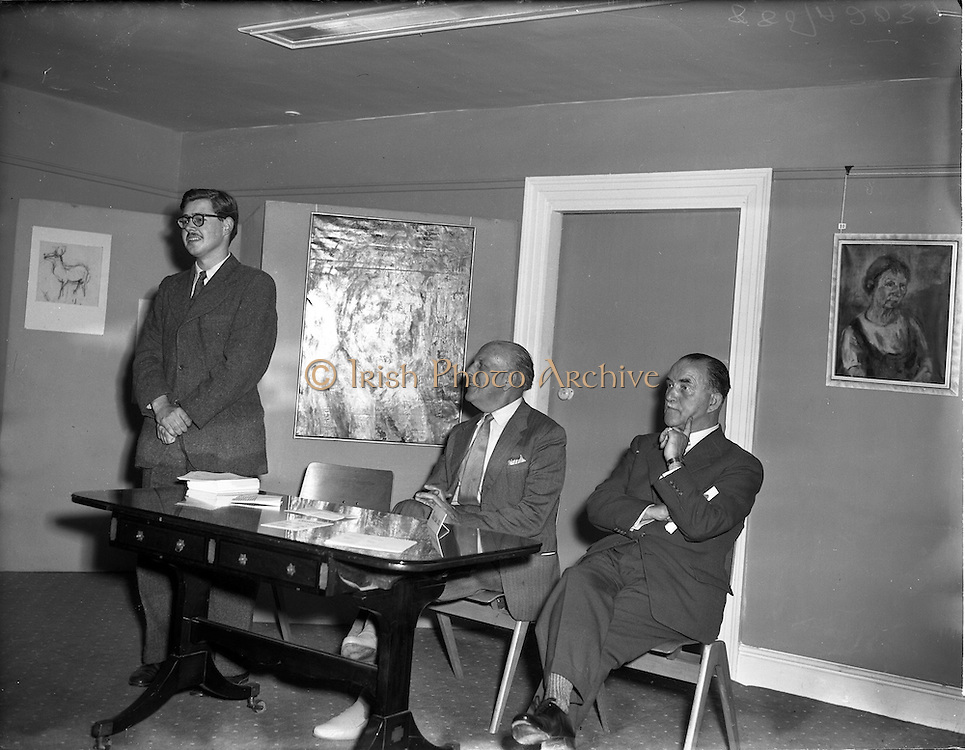 20/09/1955<br /> 09/20/1955<br /> 20 September 1955<br /> Exhibition of paintings by English abstract expressionist artist, Barrie Cooke at the Little Theatre, Brown Thomas and Co. Ltd., Grafton Street, Dublin. Mr Barrie Cooke on left. On right may be Mr J.J. Hickey, Director and Secretary Brown Thomas Ltd.