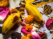 21 OCTOBER 2015 - YANGON, MYANMAR: Bananas, nuts and flowers left as an offering at the Sri Kali Temple, a Hindu temple in central Yangon.   PHOTO BY JACK KURTZ