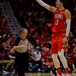 Apr 19, 2018; New Orleans, LA, USA; New Orleans Pelicans forward Nikola Mirotic (3) reacts after scoring against the Portland Trail Blazers during the second half in game three of the first round of the 2018 NBA Playoffs at the Smoothie King Center. The Pelicans defeated the Trail Blazers 119-102.  Mandatory Credit: Derick E. Hingle-USA TODAY Sports