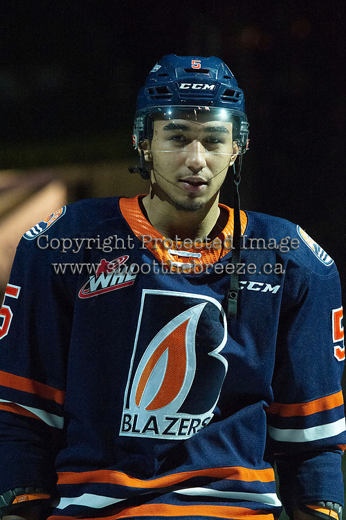 KELOWNA, BC - DECEMBER 27: Montana Onyebuchi #5 of the Kamloops Blazers lines up on the blue line against the Kelowna Rockets  at Prospera Place on December 27, 2019 in Kelowna, Canada. (Photo by Marissa Baecker/Shoot the Breeze)