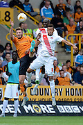 James Henry, Jordan Cousins and Alou Diarra challenge for the ball during the Sky Bet Championship match between Wolverhampton Wanderers and Charlton Athletic at Molineux, Wolverhampton, England on 29 August 2015. Photo by Alan Franklin.