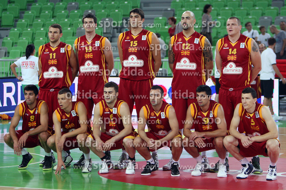 Team Macedonia at friendly match between Serbia and Macedonia for Adecco Cup 2011 as part of exhibition games before European Championship Lithuania on August 7, 2011, in SRC Stozice, Ljubljana, Slovenia. (Photo by Urban Urbanc / Sportida)